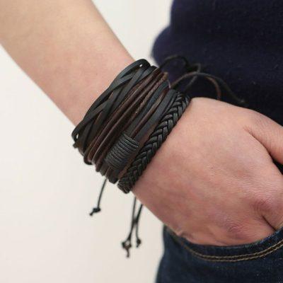 Vintage Leer Armband Heren