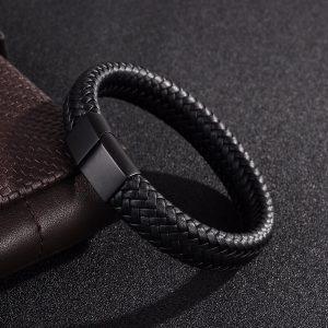 Lederen Heren Armband Zwart Vintage