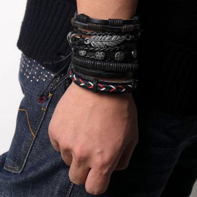 Heren Mannen Lederen Armband Leer Gevlochten Vintage Mode