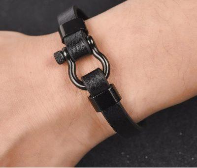 Stoere Mannen Lederen Hoefijzer armband