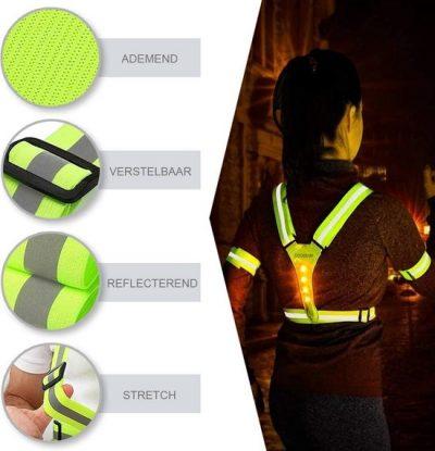 Hardloop lampjes – Hardloop licht – Reflectie hardlopen – Veiligheidshesje – Veiligheidsvest - Running Light - Wandel verlichting